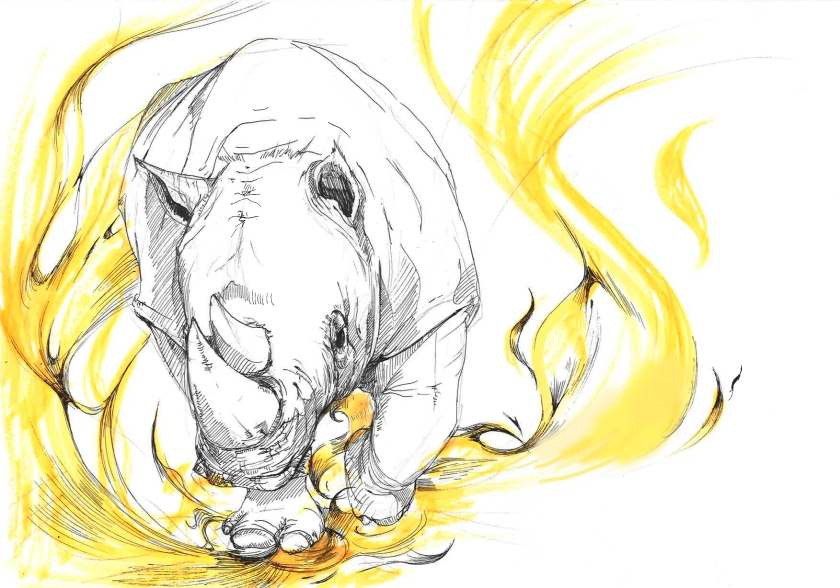 rushing rhino on the fire flame